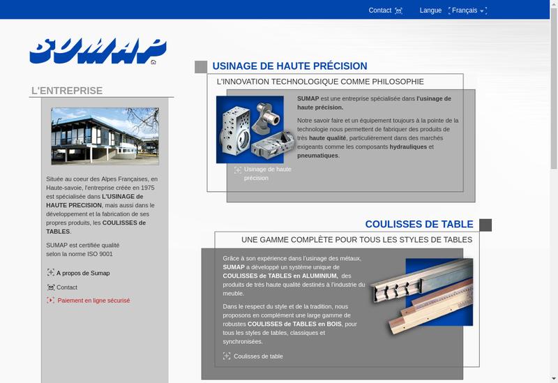 Capture d'écran du site de Sumap