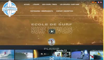 Capture d'écran du site de Surf Univers