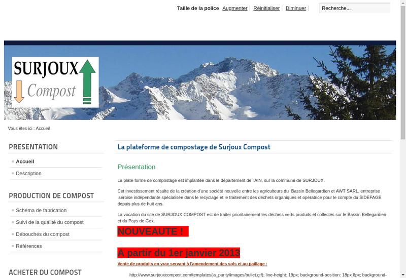 Capture d'écran du site de Surjoux Compost