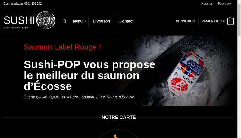Capture d'écran du site de Sushi-Pop