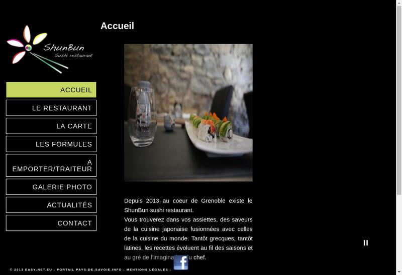 Capture d'écran du site de Shun Bun Jushi Restaurant