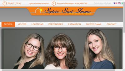 Capture d'écran du site de Sylvie Sud Immo
