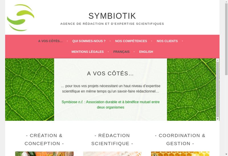 Capture d'écran du site de Symbiotik SAS