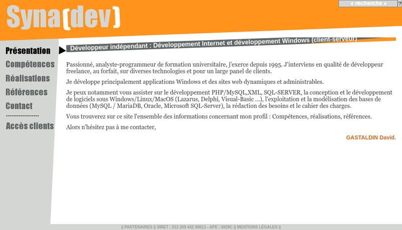 Capture d'écran du site de Synadev