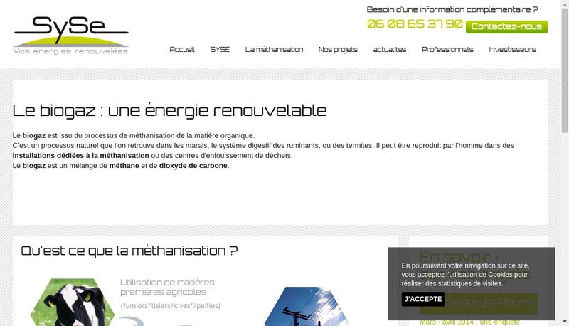 Capture d'écran du site de SYSE