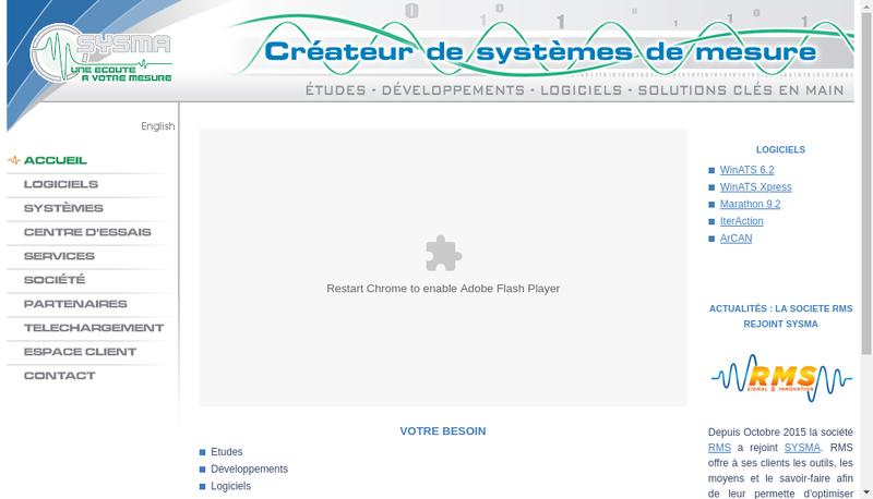 Capture d'écran du site de Sysma