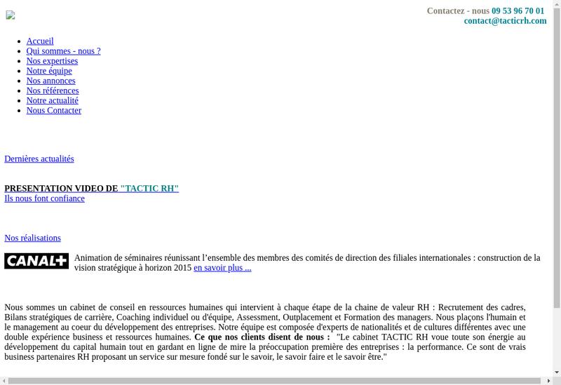 Capture d'écran du site de TACTIC RH