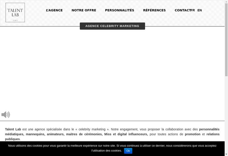 Capture d'écran du site de Talent Lab