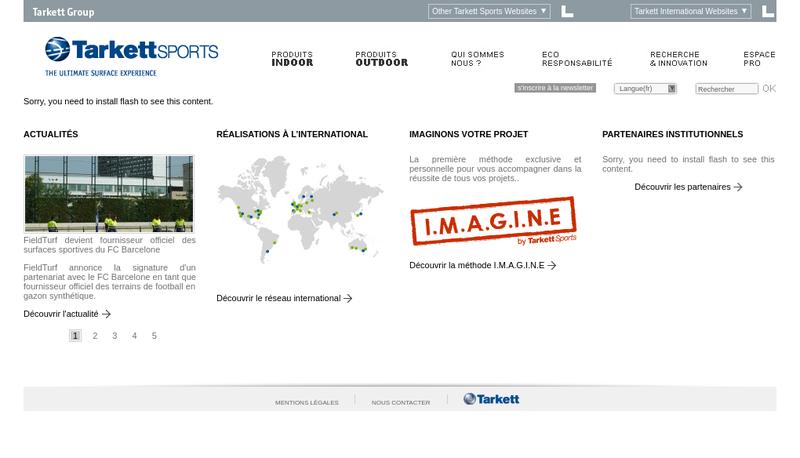Capture d'écran du site de Fieldturf Tarkett