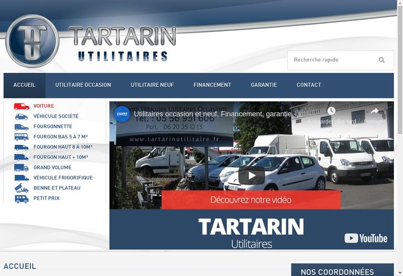 Capture d'écran du site de Tartarin Utilitaires