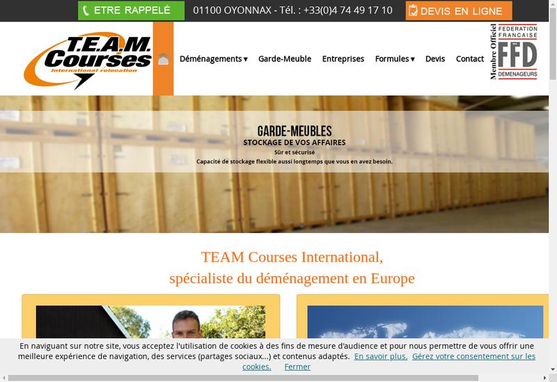 Capture d'écran du site de Team Courses