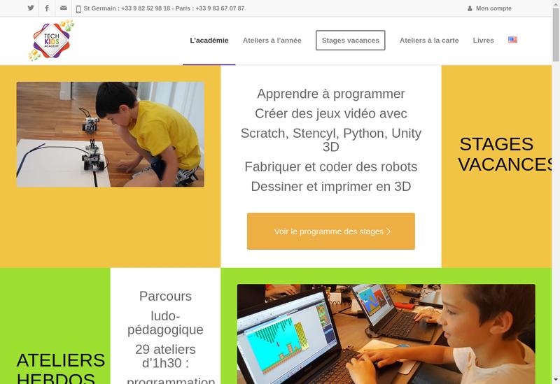 Capture d'écran du site de Tech Kids