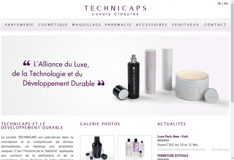 Capture d'écran du site de Technicaps Packaging