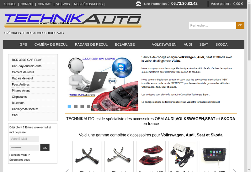 Capture d'écran du site de Technikauto