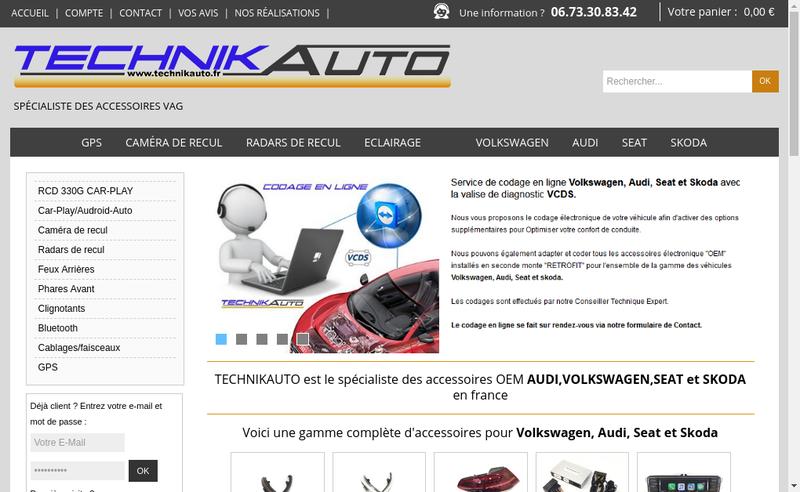 Capture d'écran du site de Technikauto