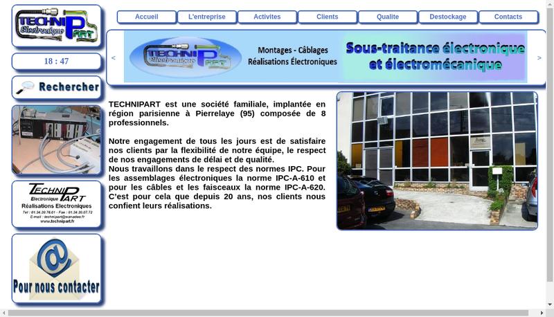 Capture d'écran du site de Technipart