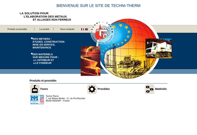 Capture d'écran du site de Techni Therm