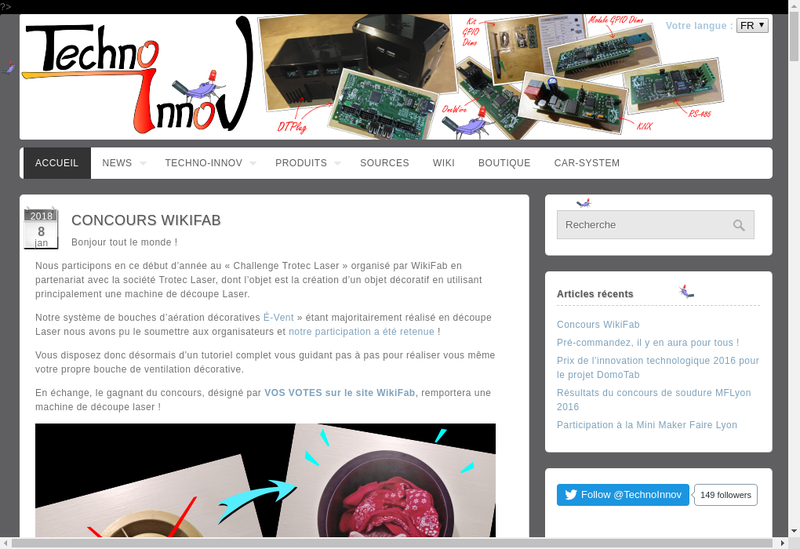 Capture d'écran du site de Techno-Innov