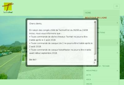 Capture d'écran du site de Technofirst