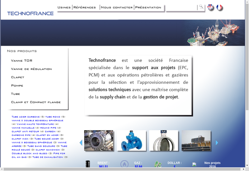 Capture d'écran du site de Techno France Export