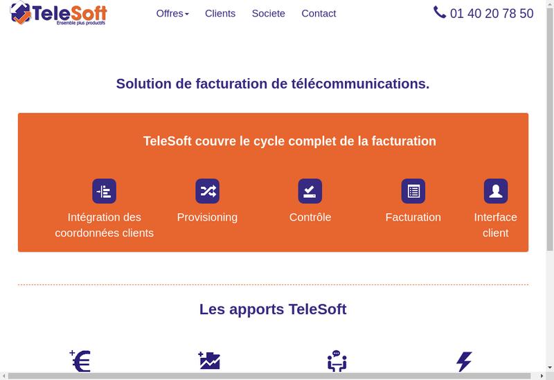 Capture d'écran du site de Telesoft