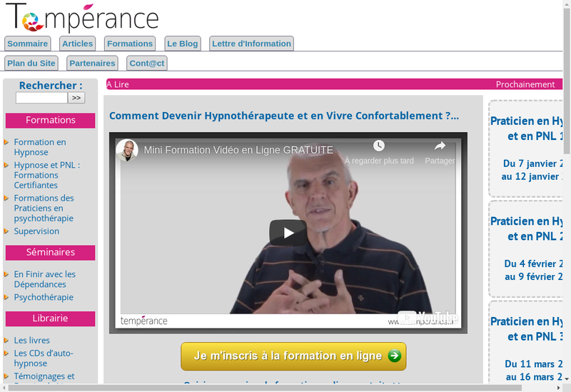 Capture d'écran du site de Temperance