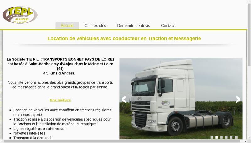 Capture d'écran du site de Transports Eonnet Pays de Loire