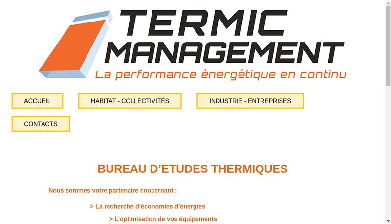 Capture d'écran du site de Termic Management