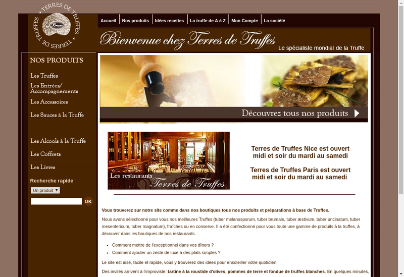 Capture d'écran du site de Terres et Truffes