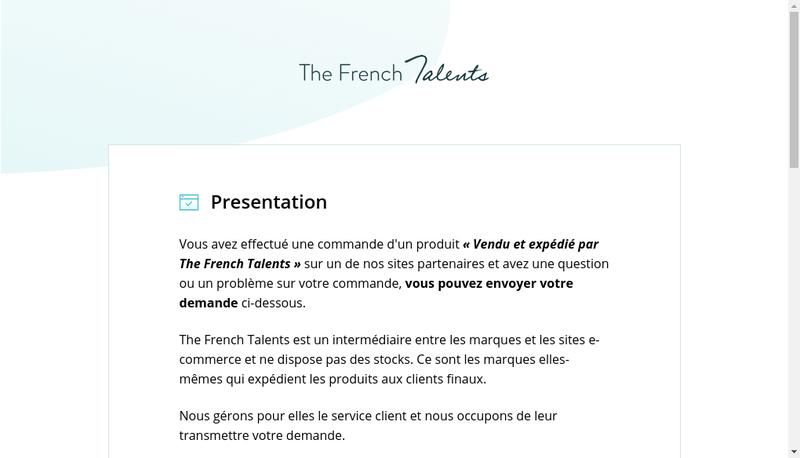 Capture d'écran du site de The French Talents