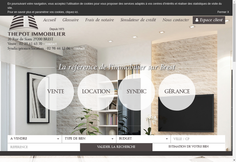 Capture d'écran du site de SA Thepot