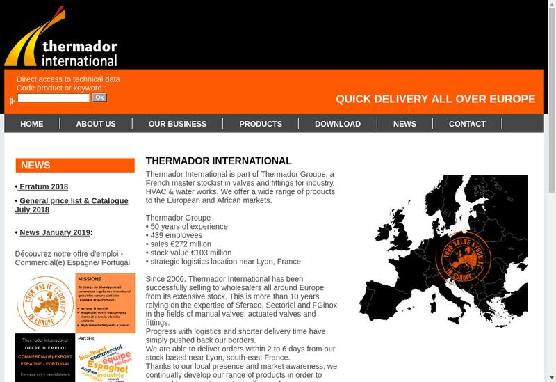 Capture d'écran du site de Thermador International
