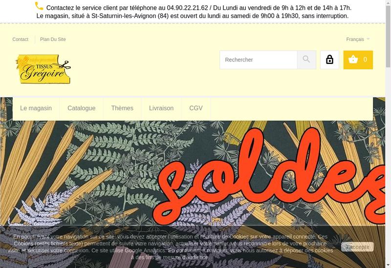 Capture d'écran du site de Tissus Gregoire