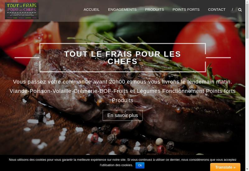 Capture d'écran du site de Tout le Frais Pour les Chefs