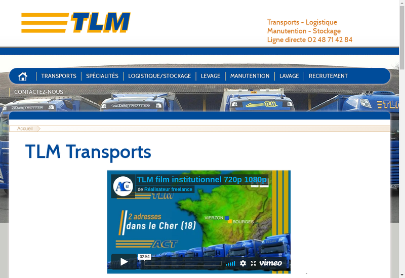 Capture d'écran du site de TLM