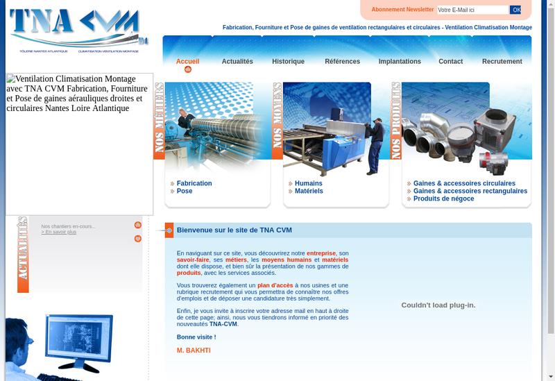 Capture d'écran du site de Climatisation Ventilation Montage