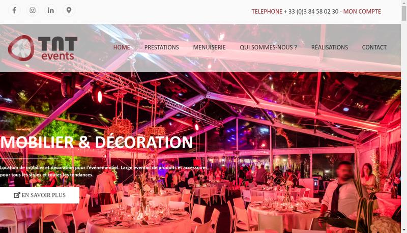 Capture d'écran du site de Tnt Events