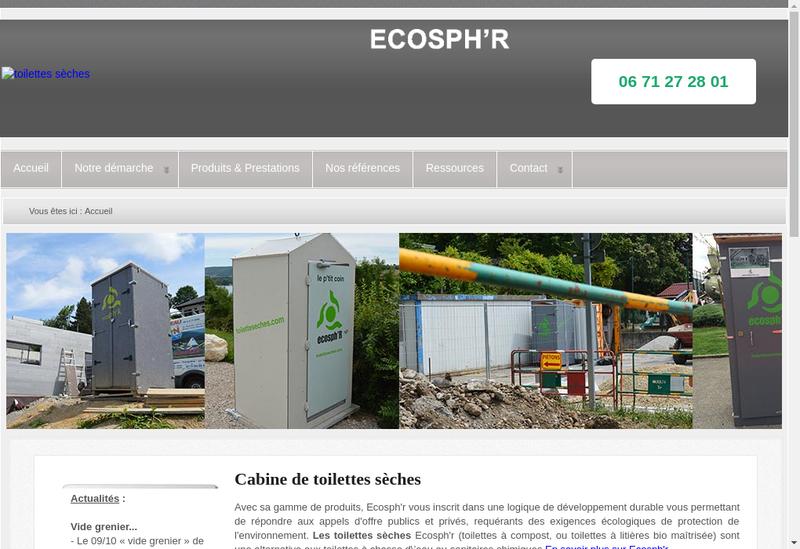 Capture d'écran du site de Ecosph'R