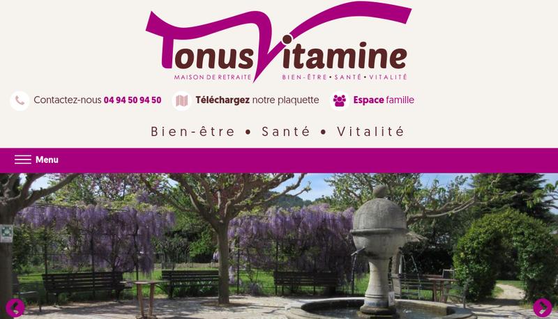 Capture d'écran du site de Tonus Vitamine