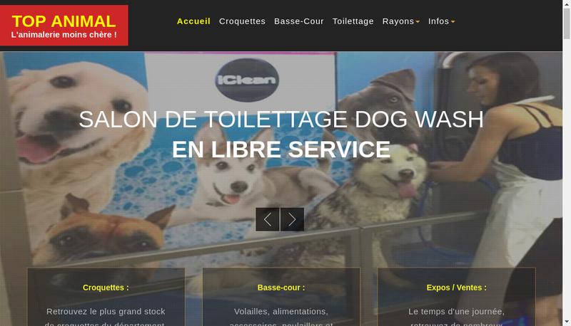 Capture d'écran du site de Top Animal - l'Animalerie Moins Che