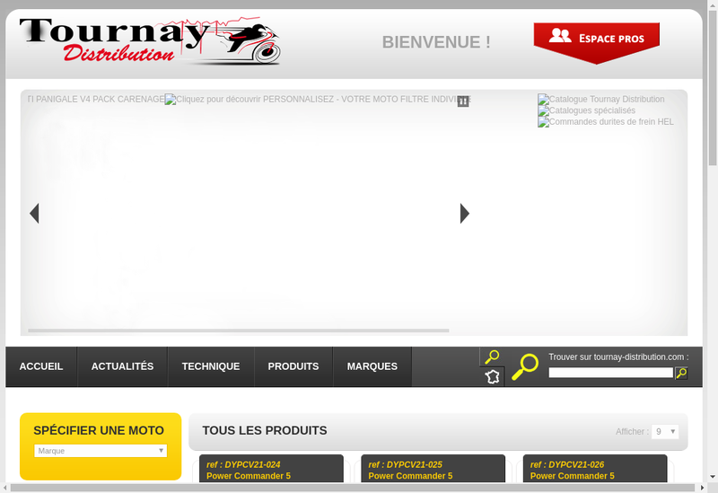 Capture d'écran du site de Tournay Distribution