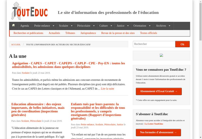 Capture d'écran du site de Touteduc