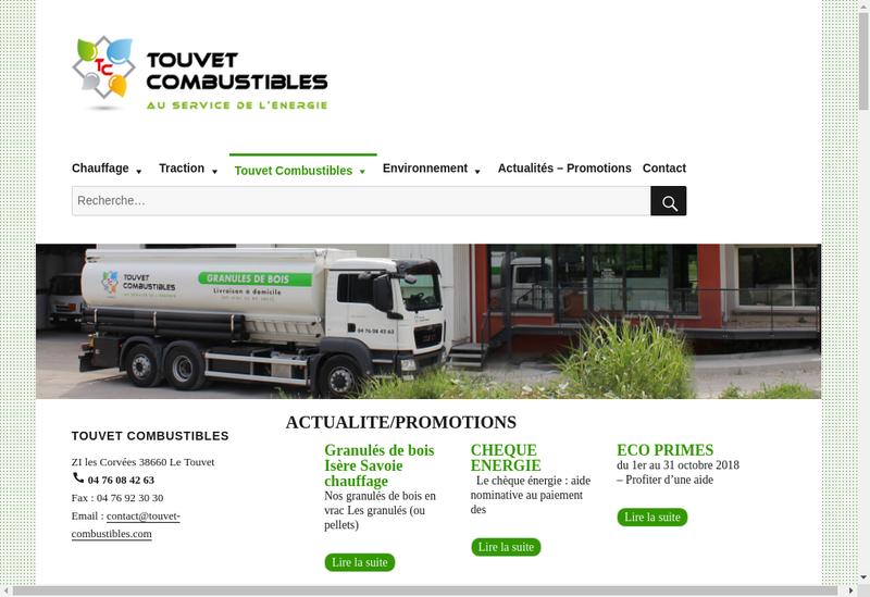 Capture d'écran du site de Touvet Combustibles