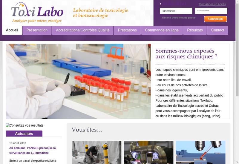 Capture d'écran du site de Toxilabo