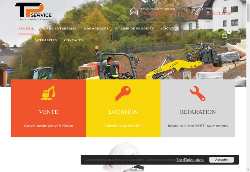 Capture d'écran du site de Tp Services