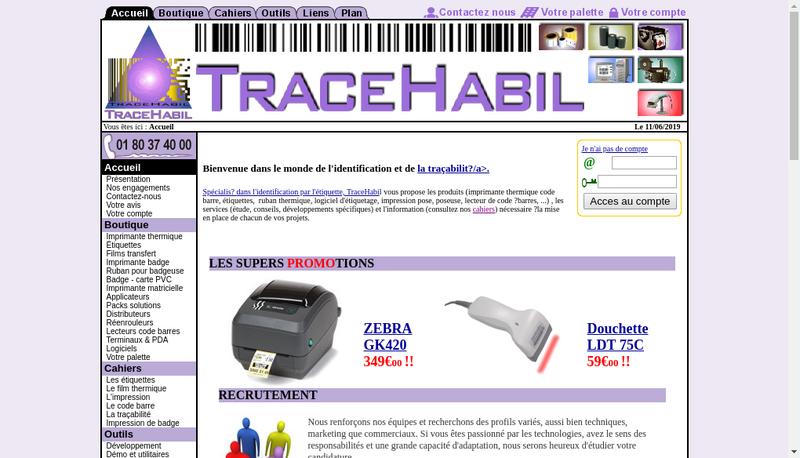 Capture d'écran du site de Tracehabil