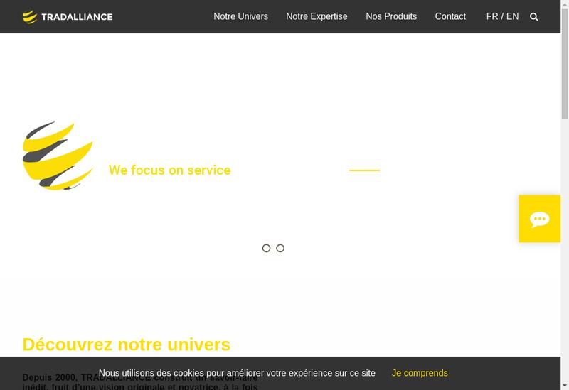 Capture d'écran du site de Tradalliance
