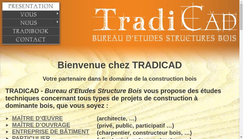 Capture d'écran du site de Tradicad