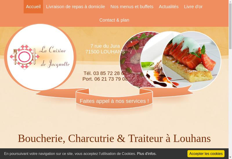 Capture d'écran du site de La Cuisine de Jacquotte