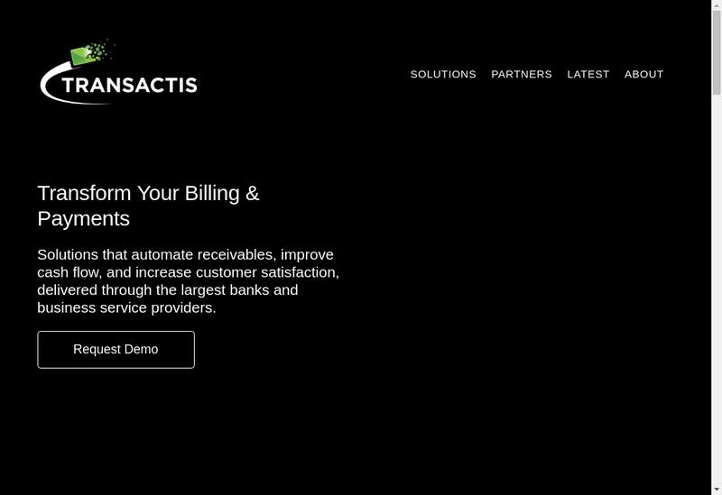 Capture d'écran du site de Transactis